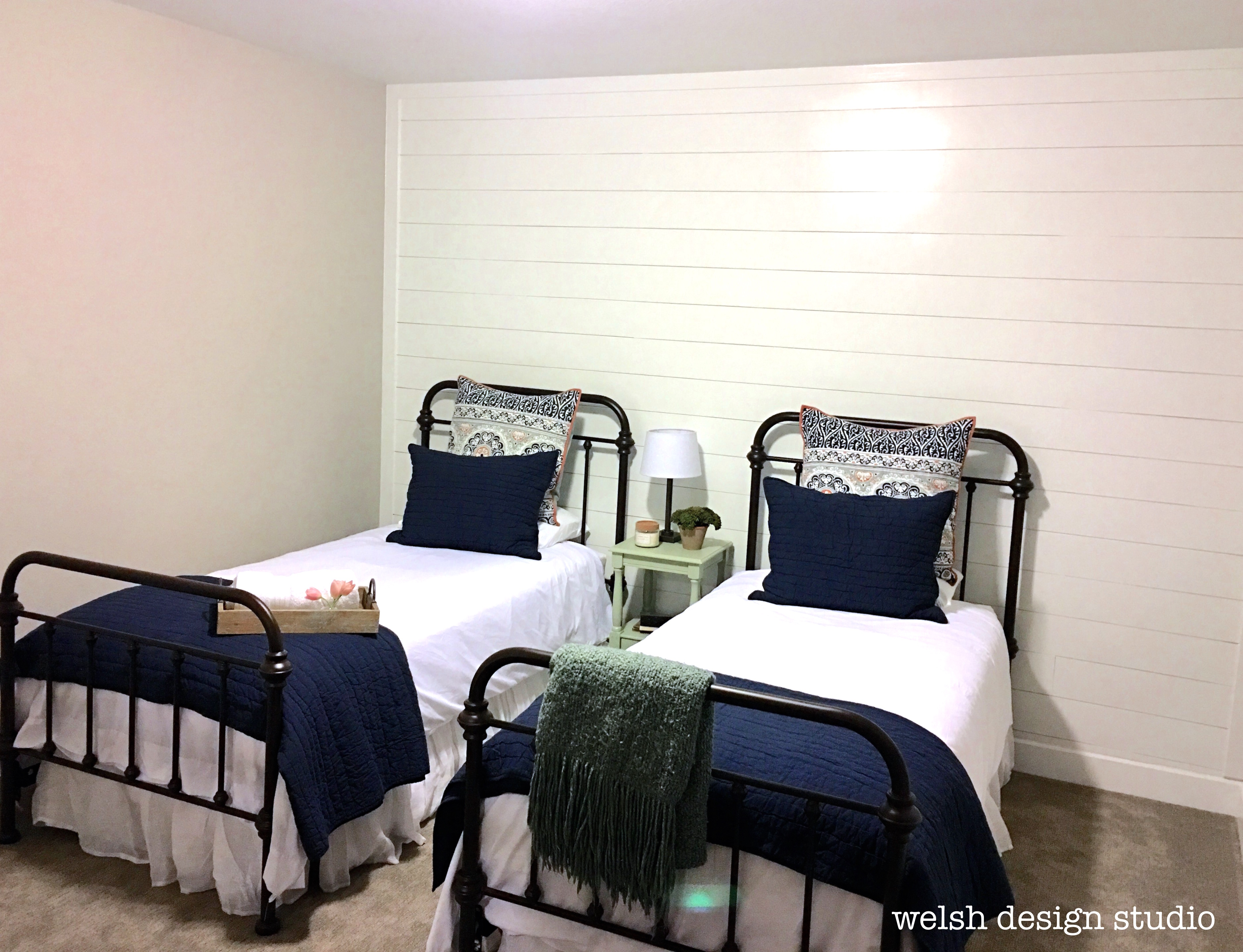 guest room diy shiplap plank wall