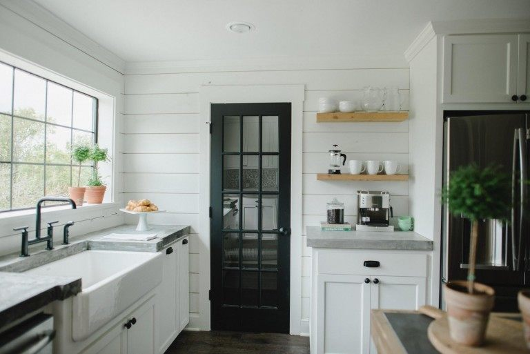 black painted doors in kitchen