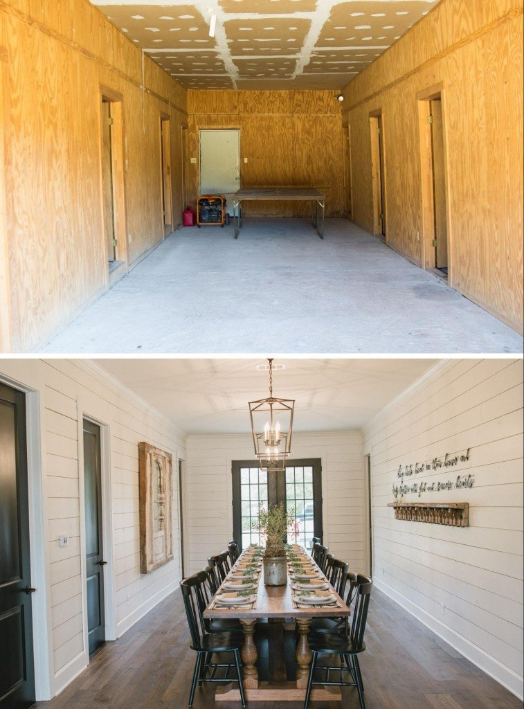 fixer upper white shiplap dining room with black doors