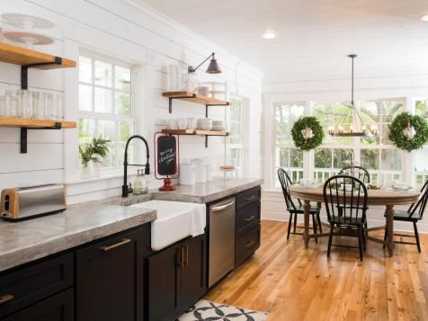 fixer upper black farmhouse kitchen