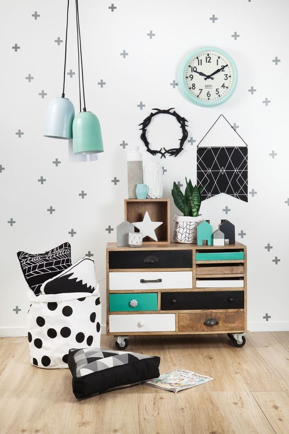 black and white and teal bedroom