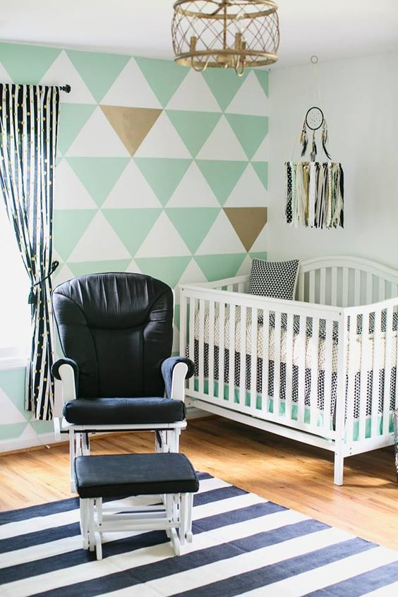 black and white and mint nursery