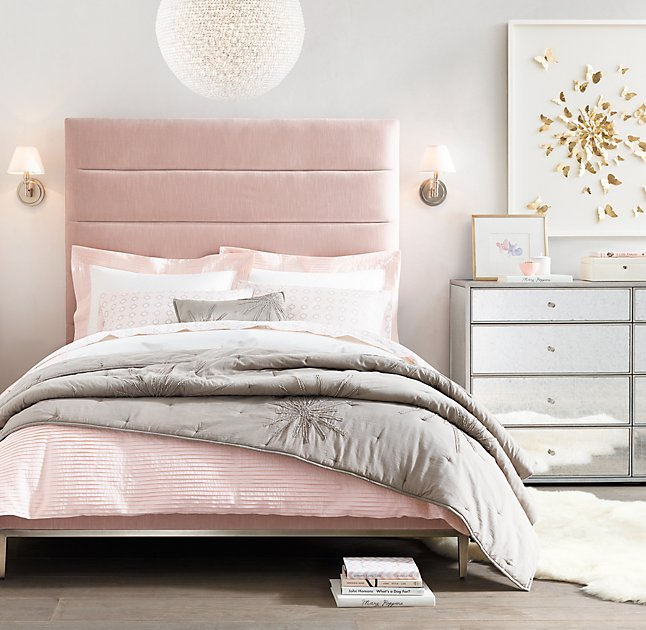 gray and pink girls bedroom