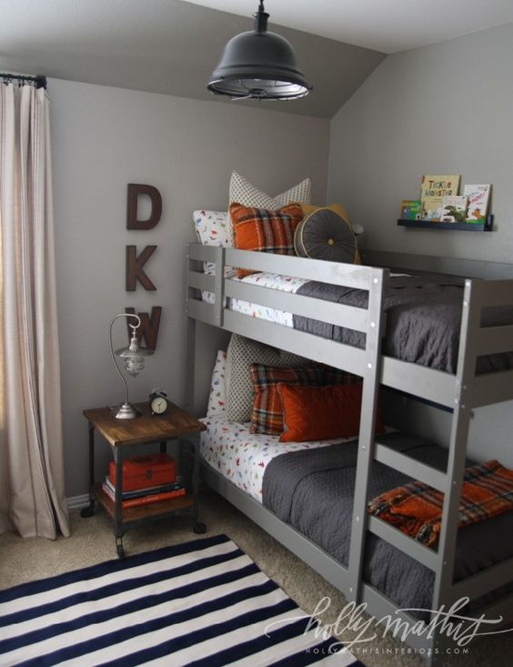 gray and orange boys bedroom
