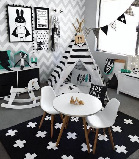 Black and white and teal playroom