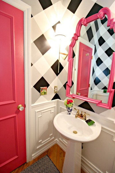 bright pink bathroom door