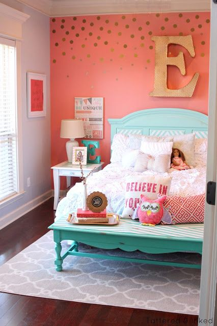 teal and coral bedroom