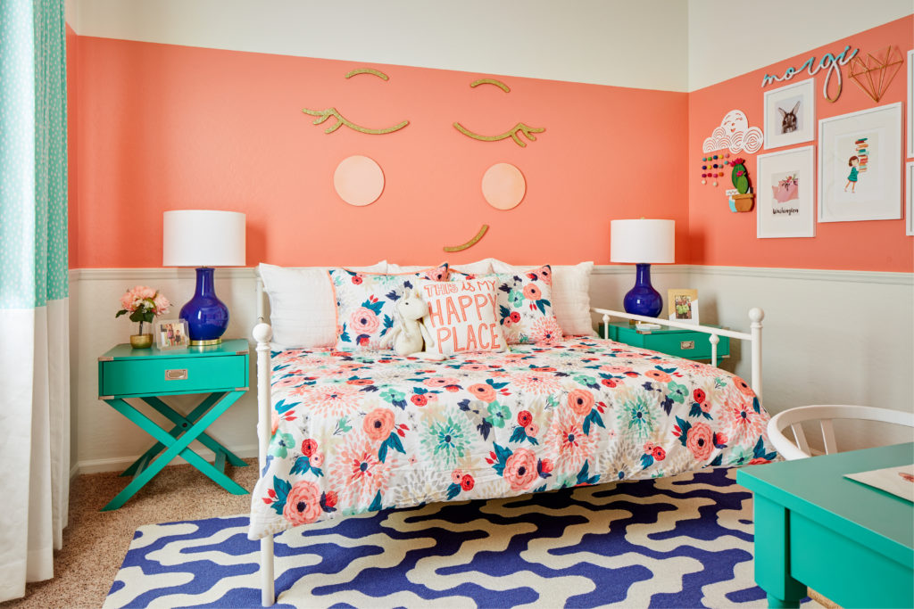 coral and teal girls bedroom