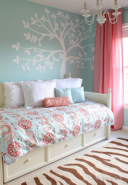 turquoise and coral bedroom