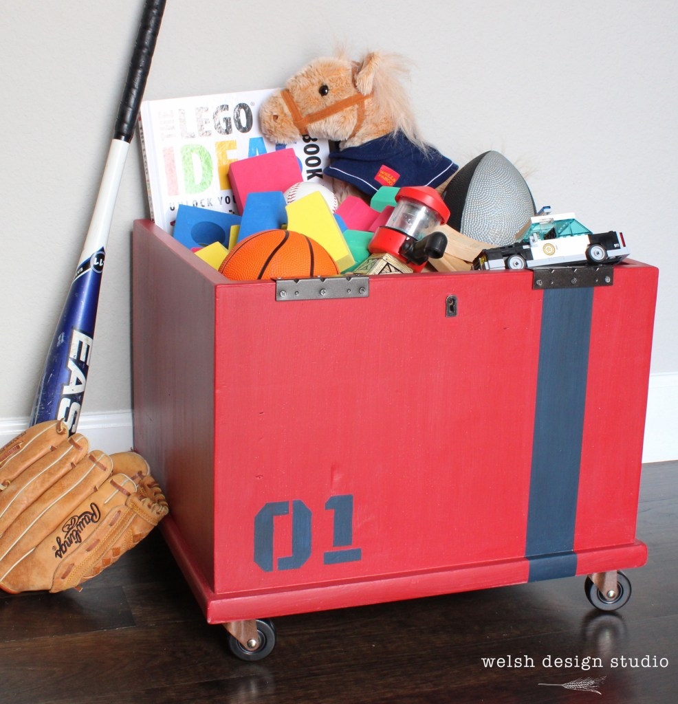 red toy box with navy stripe