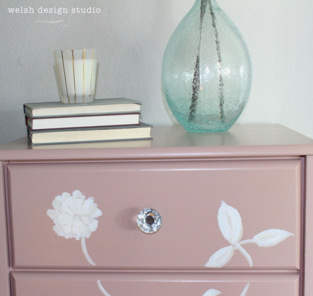 pink drawers with hand-painted flowers