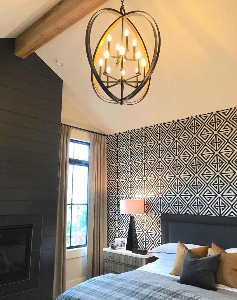 geometric wallpaper in bedroom