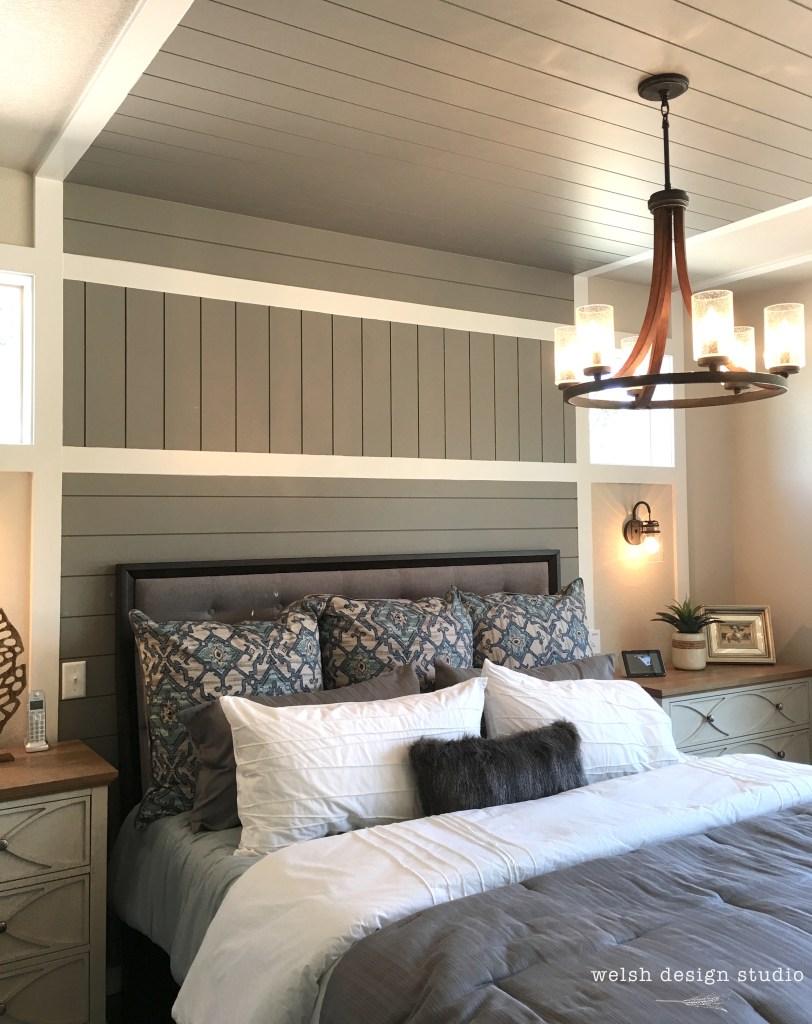 bedroom shiplap feature wall