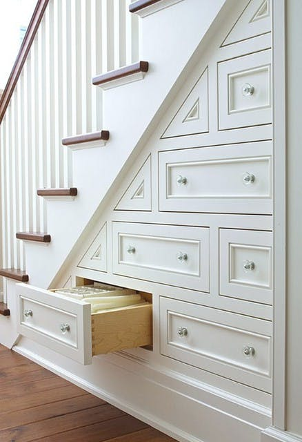 built-in drawers under stairs