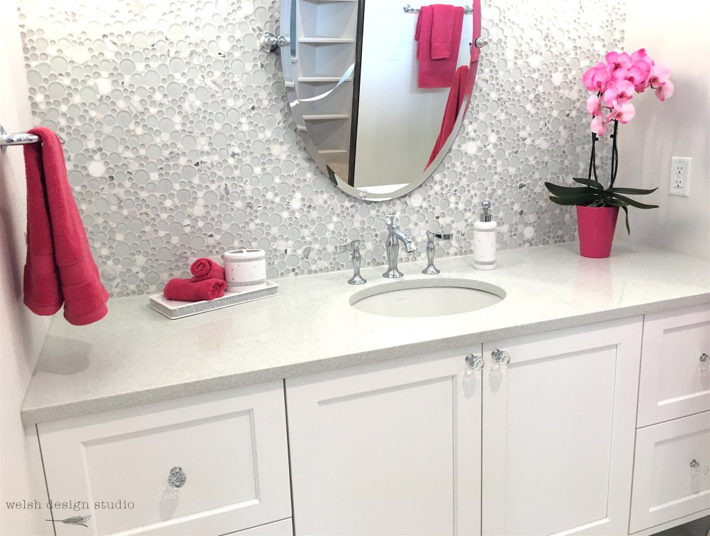 white bathroom with bubble tile
