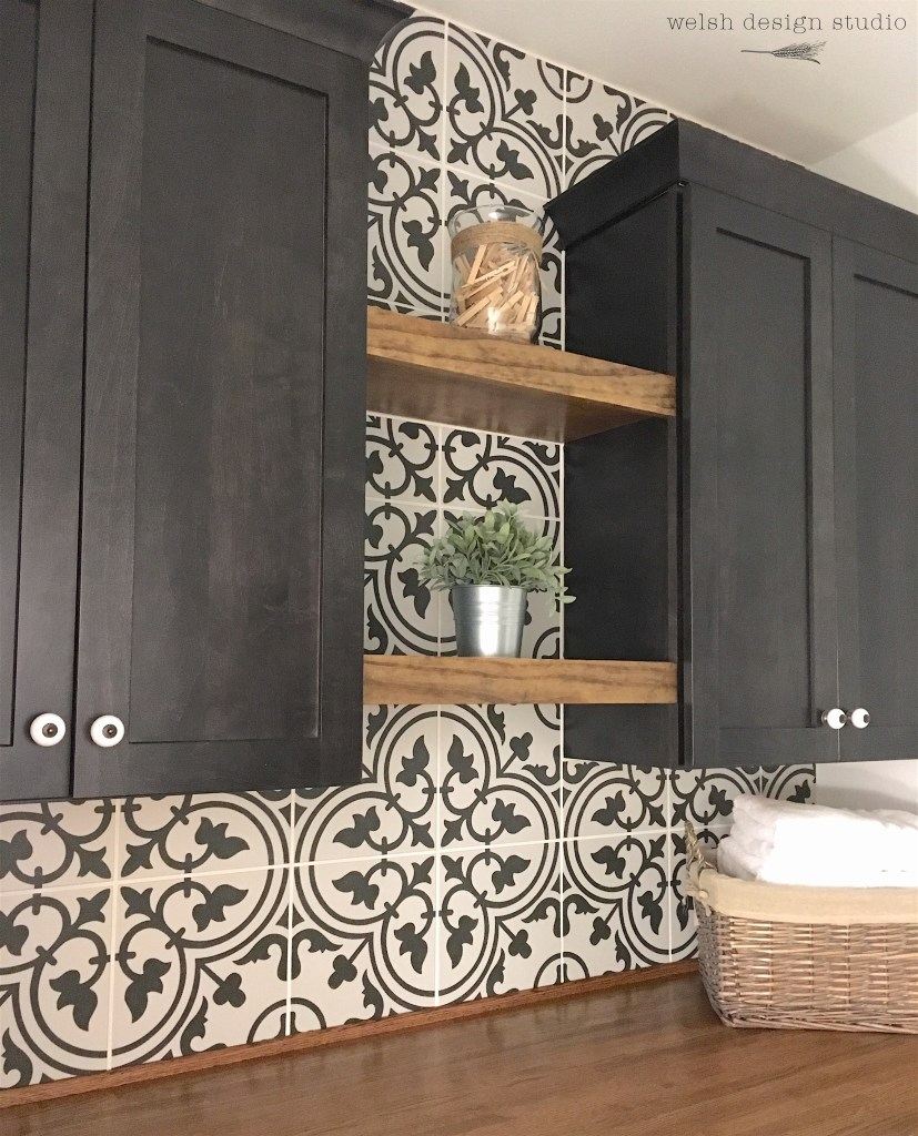 laundry room patterned tile