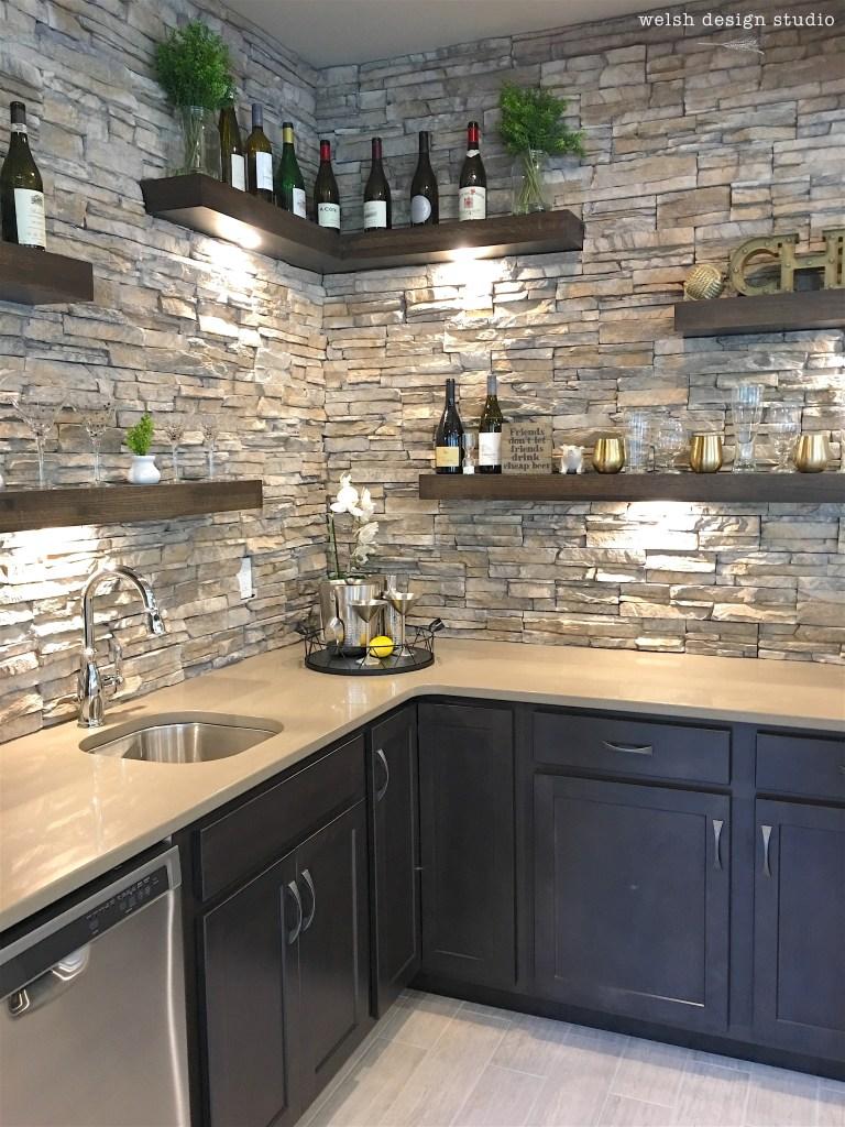 wet bar with floating shelves