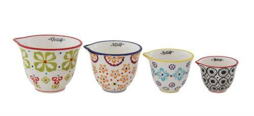 floral stoneware measuring cups