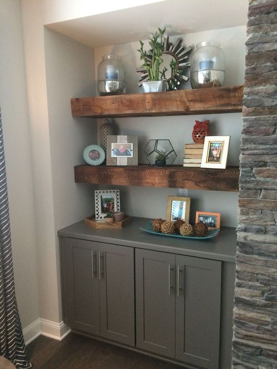 gray fireplace built-ins