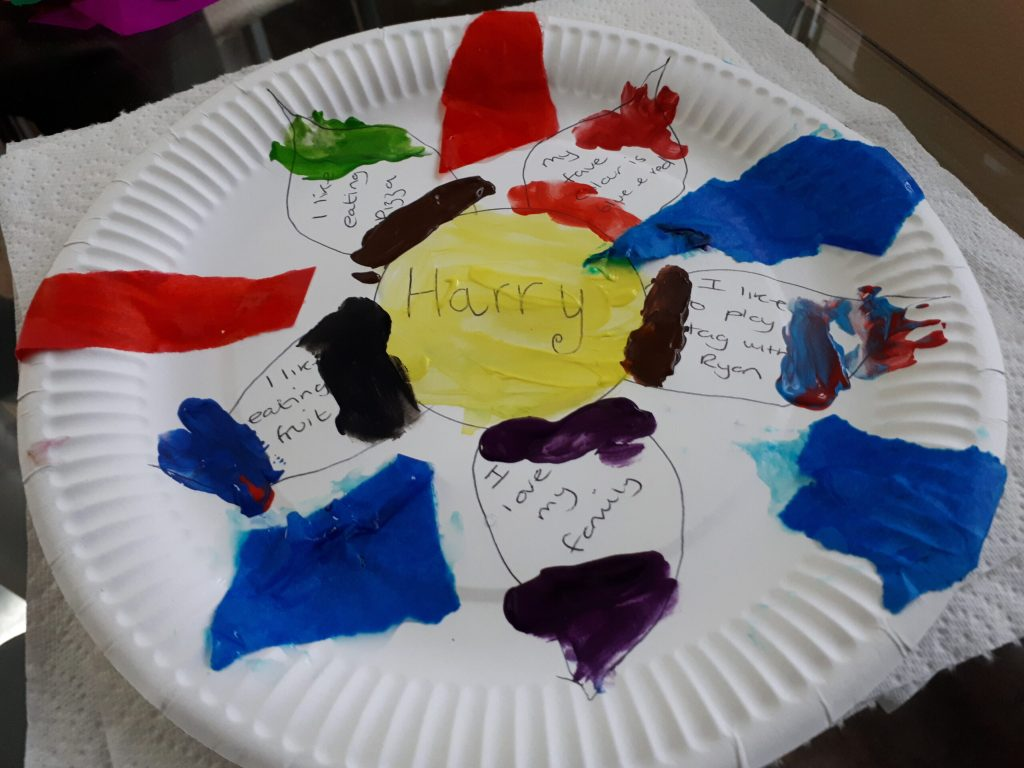 Paper plate painted by child