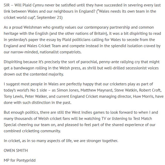 Owen Smith cricket letter