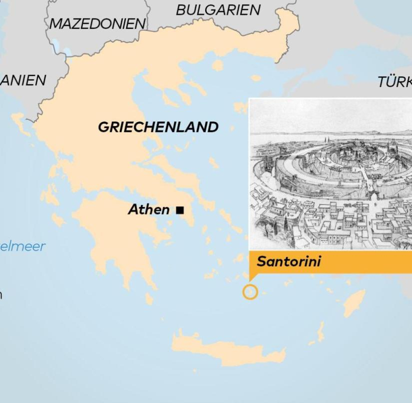 The location of the Cycladic island of Santorini and a reconstruction of Atlantis