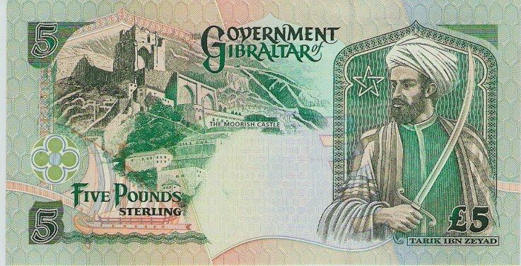 Tariq ibn Ziyad schmückt eine Fünf-Pfund-Note von Gibraltar, das nach dem General (Dschebel Tarik = Berg des Tariq) benannt ist.