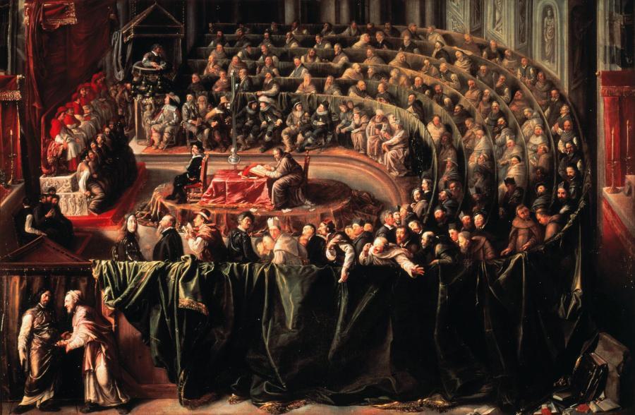 Galilei vor Inquisition _ Gemaelde 17.Jh.