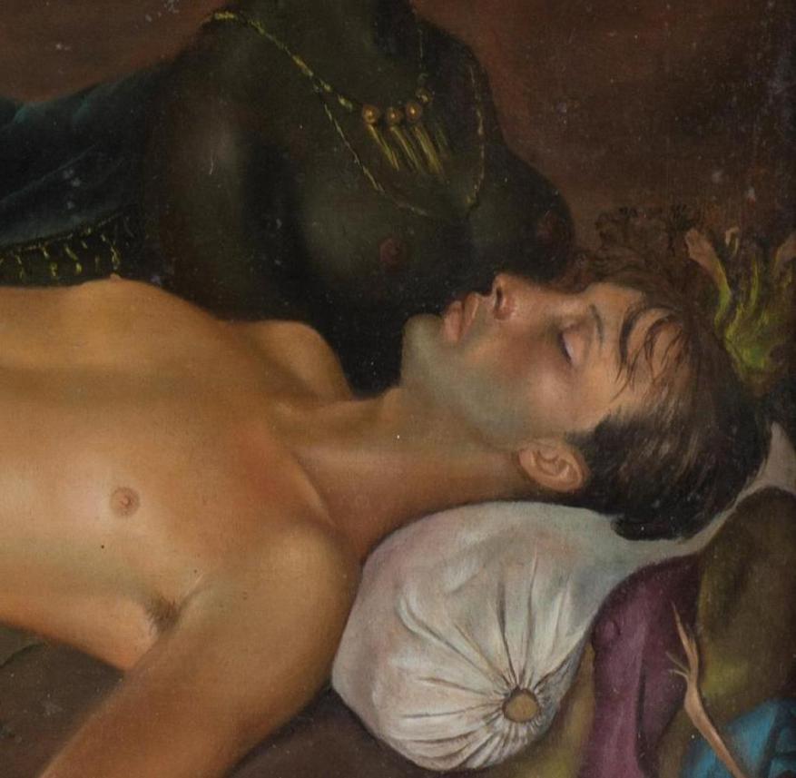 Leonor Fini, earth god who guards the sleep of a youth, 1946, oil on canvas, 27.9 x 41.3 cm, © Weinstein Gallery, San Francisco and Francis Naumann Gallery, New York / VG Bild-Kunst, Bonn 2020