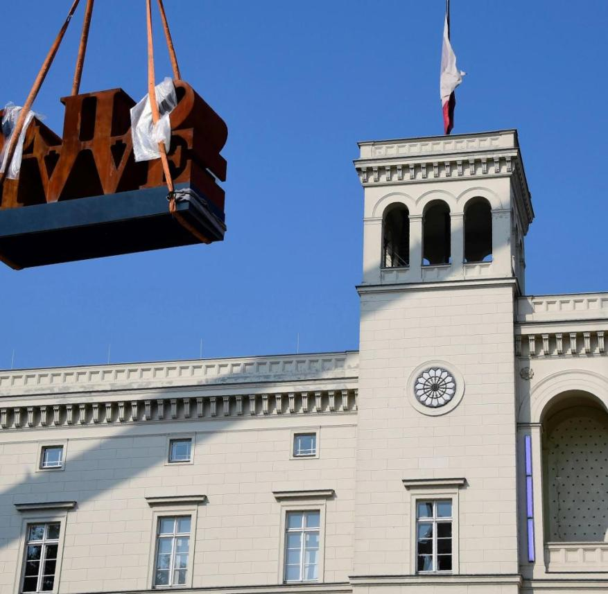 The sculpture 'Imperial Love' by Robert Indiana is set up at the Hamburger Bahnhof museum in Berlin on September 11, 2016. / AFP / TOBIAS SCHWARZ (Photo credit should read TOBIAS SCHWARZ/AFP via Getty Images)