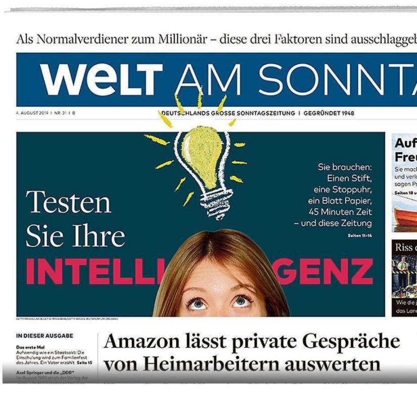 WELT AM SONNTAG from August 4, 2019