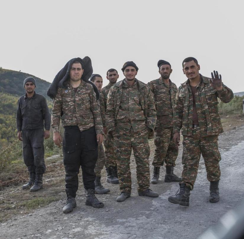 Nagorno-Karabakh / Martakert /// A group of soldiers is on the way near the front with Azerbaijan.