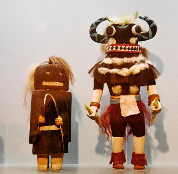 These kachinas are exhibited at the Peabody Museum of Archeology and Ethnology in Cambridge