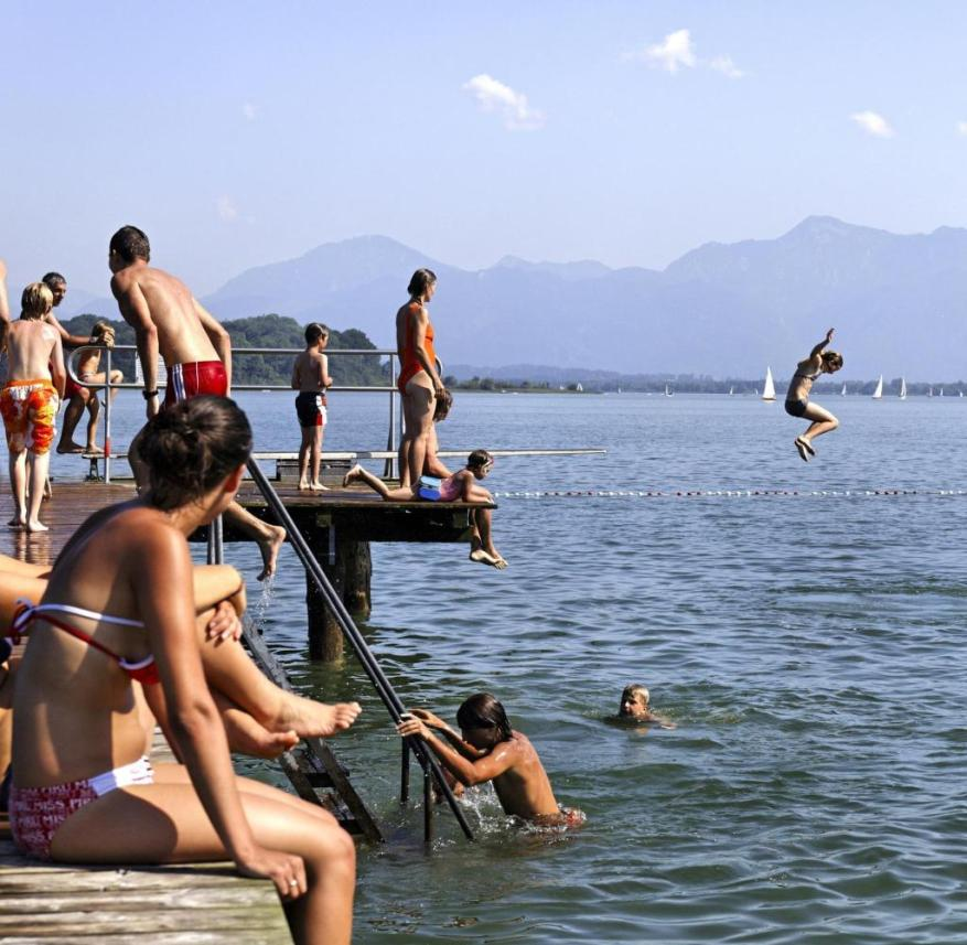 Bathing fun at the Chiemsee in Bavaria