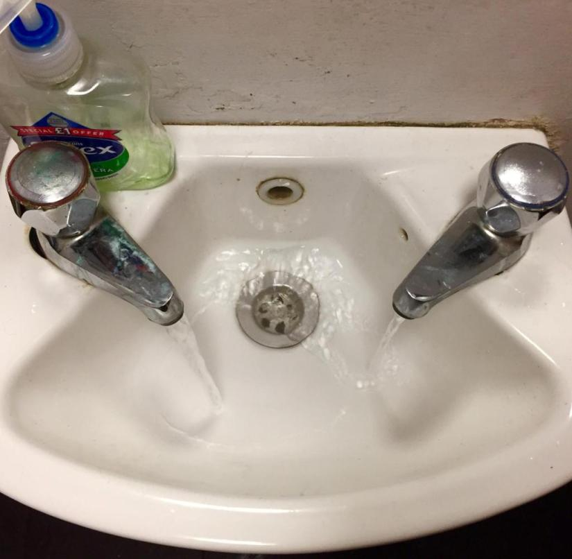 Typical in England: wash basins with separate taps