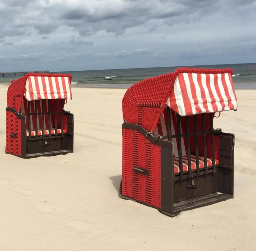 By far: beach chairs on Usedom on the Baltic Sea