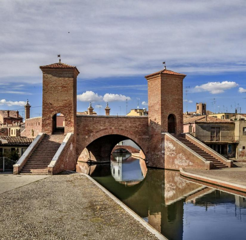 Emilia-Romagna (Italy): Trepponti is a bridge construction of the town of Comacchio, built on 13 islands, which spans three canals with five stairs