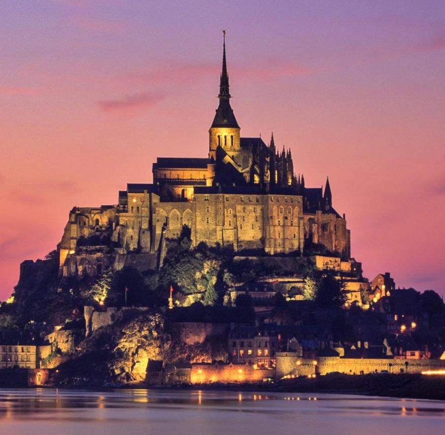 The monastery mountain Mont-Saint-Michel in Normandy (France)