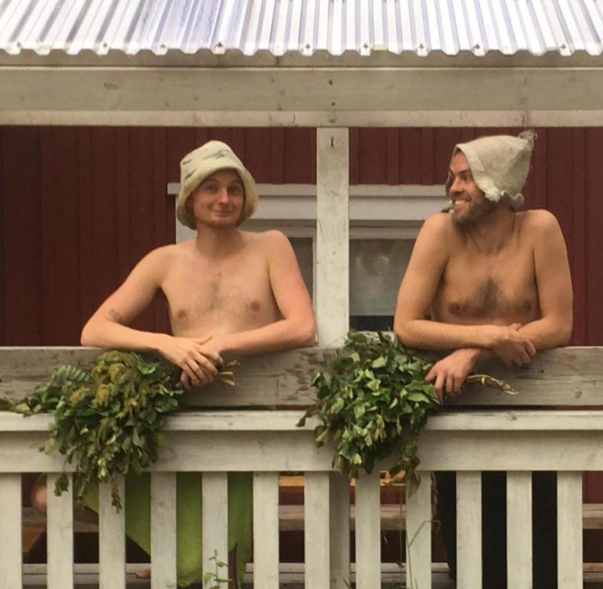 Finnish sauna ceremonies: Matti Kemi (left) and Juha Kumara with homemade birch rods