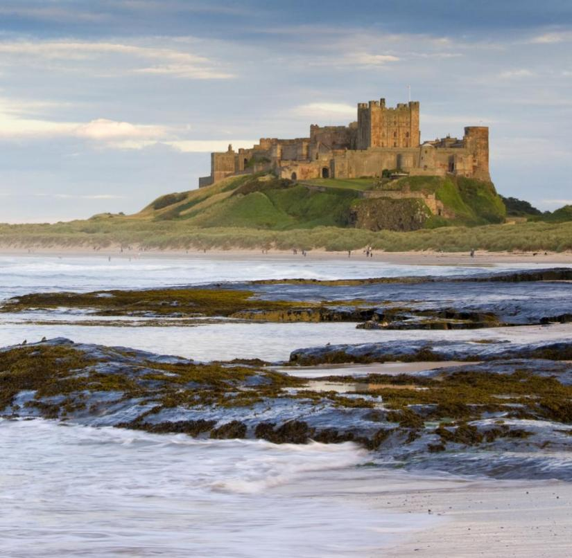 England: Bamburgh Castle is located on one of the most beautiful North Sea beaches in Great Britain