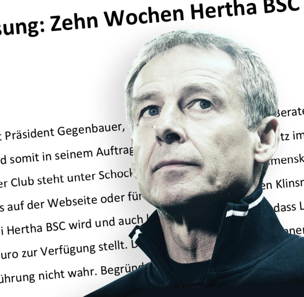 Unique process in German football: Jürgen Klinsmann documents his time in Berlin in detail on 22 pages. No stone remains on the other