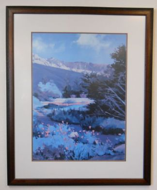 Art Print 20 - Pink Flowers With Mountains - Used