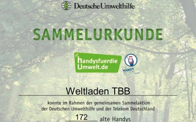 Urkunde für Althandy-Sammelaktion