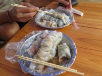 Sieht drollig aus und schmeckte sehr lecker: Gemüse in Reispapier