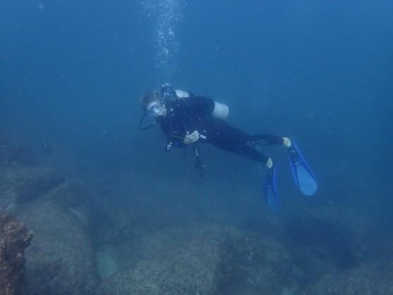 Abhängen unter Wasser.