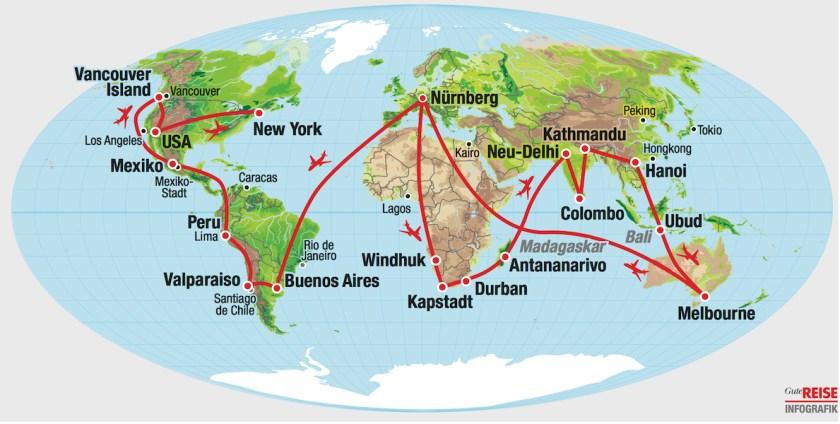Weltreise-Route: Karte mit der Route der Weltreise von Elke und Wolfgang