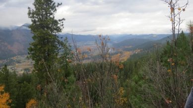 """Looking north, the """"U"""" valley of the Icicle River cradles Leavenworth, and in the center back is the """"V"""" shaped Chumstick Creek drainage, carved by flowing water, not by glacial ice."""