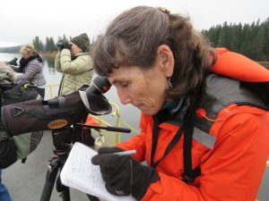 Susan Ballinger taking a turn to record bird observations at Fish Lake