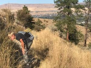 Torsten Watkins at Saddle Rock, searching for reptiles