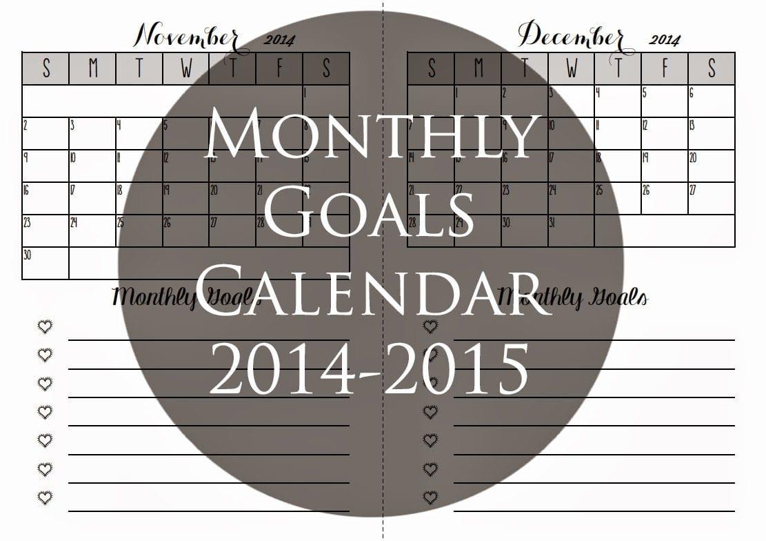 Monthly Goals Calendar For